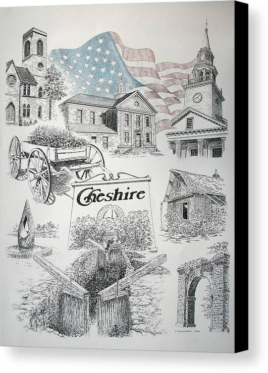 Connecticut Cheshire Ct Historical Poster Architecture Buildings New England Canvas Print featuring the drawing Cheshire Historical by Tony Ruggiero