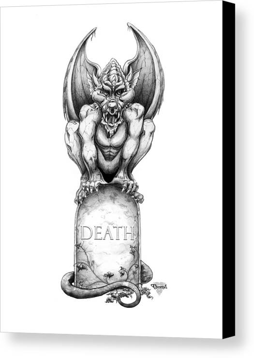 Gargoyle Canvas Print featuring the drawing Death by Greg Piszko