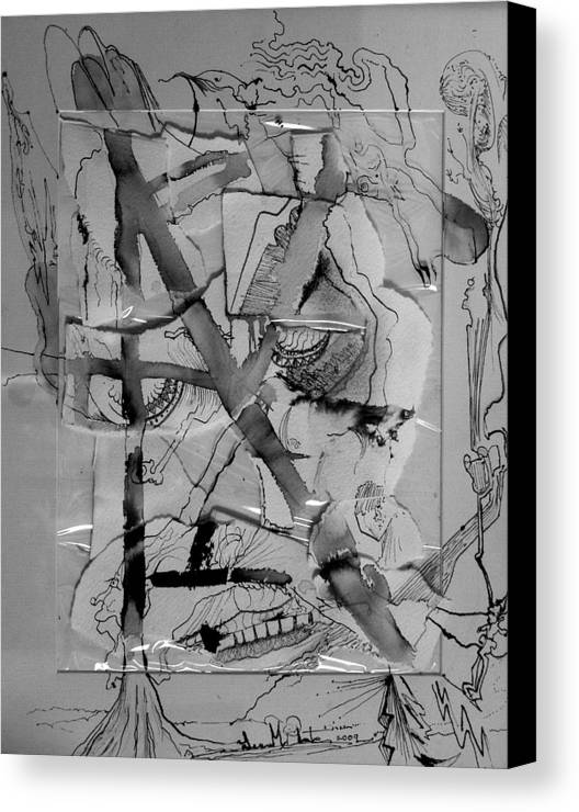 Pen And Ink Canvas Print featuring the drawing Grimace Under Glass by Lee M Plate