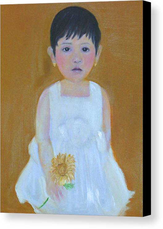 Child Canvas Print featuring the painting La Senorita And The Sunflower by Michela Akers