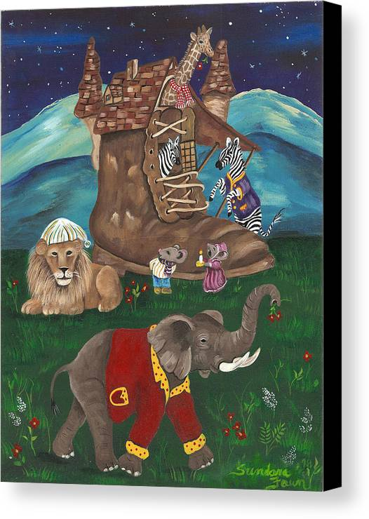 Zebra Canvas Print featuring the painting Old Woman In Shoe by Sundara Fawn