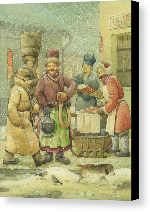 Russian Winter Canvas Print featuring the painting Russian Scene 04 by Kestutis Kasparavicius