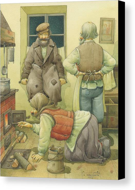 Russian Winter Canvas Print featuring the painting Russian Scene 05 by Kestutis Kasparavicius