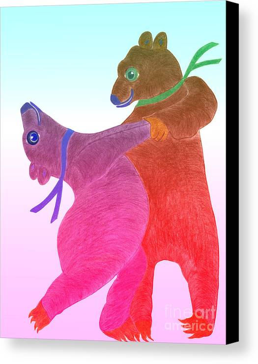 Bears Canvas Print featuring the painting Tango Bears by Tess M J Iroldi