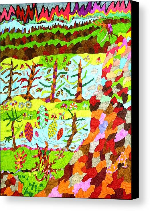 Hills Canvas Print featuring the drawing The Hills Are Alive by Eric Devan