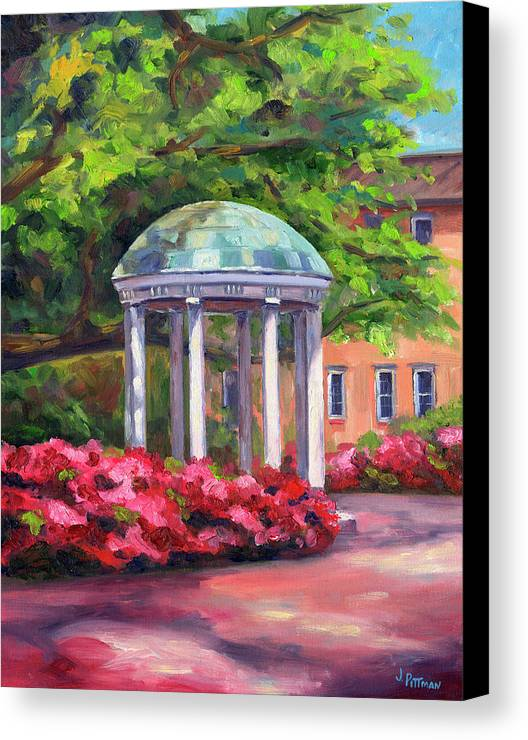 University Of North Carolina At Chapel Hill Canvas Print featuring the painting The Old Well Unc by Jeff Pittman