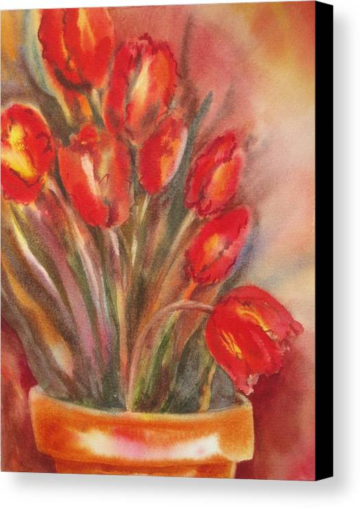 Tulips Canvas Print featuring the painting Tulips For David by Tara Moorman