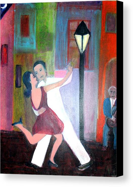 Urban Landscape Canvas Print featuring the painting Veux Tu Tango by Michela Akers