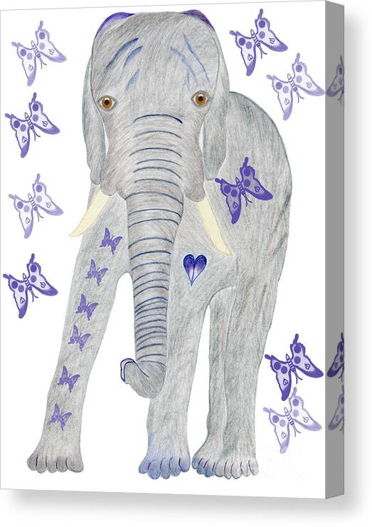 Elephant Canvas Print featuring the painting Brandy And The Butterflies by Tess M J Iroldi