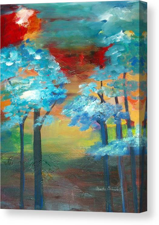Landscape Canvas Print featuring the painting Oriental Forest by Maritza Bermudez