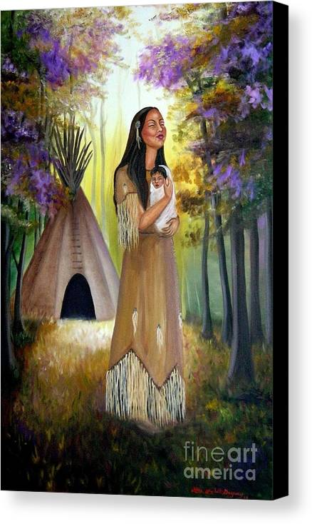 Native American Canvas Print featuring the painting Native American Mother And Child by Lora Duguay