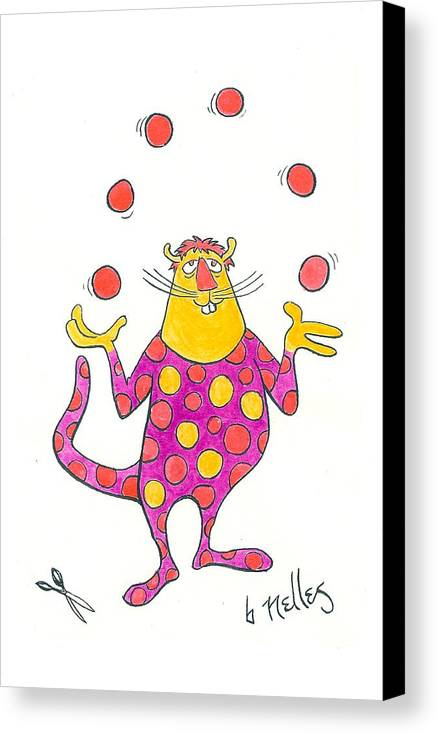 Juggling Canvas Print featuring the painting Creature Juggling Polka Dots by Barry Nelles Art