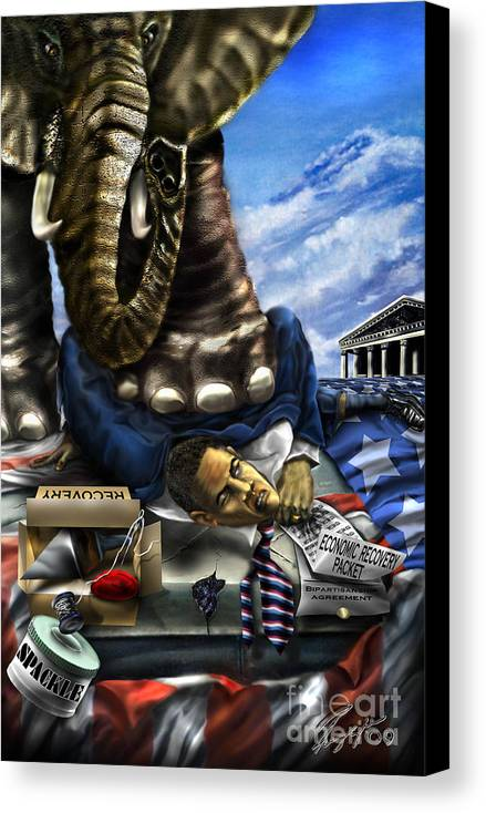 Political Satire Painting Canvas Print featuring the painting Obama by Reggie Duffie