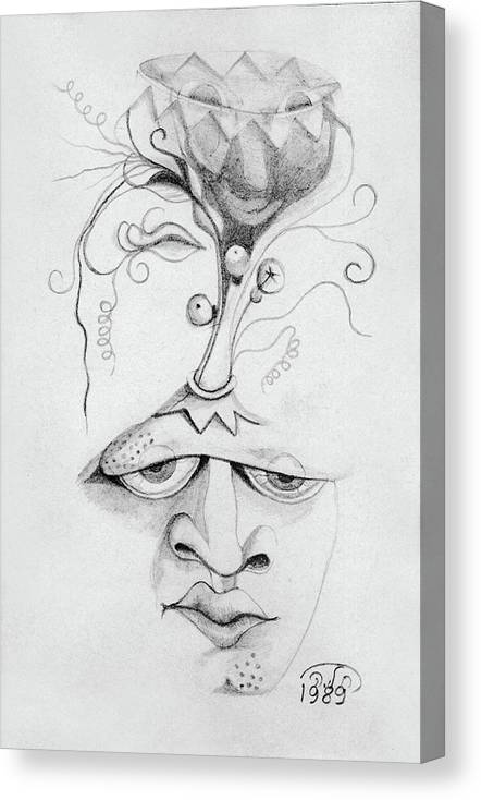Meditation On The Crown Chakra Or Where Is Your Mind Going Surrealistic  Fantasy Of Face With Energy Canvas Print