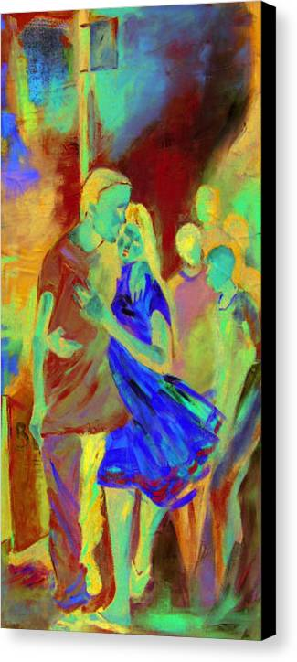 Impression Canvas Print featuring the painting Affection by Michael Echekoba
