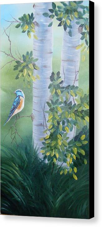 Birds Canvas Print featuring the painting Blue Bird In A Birch by Tina Brown