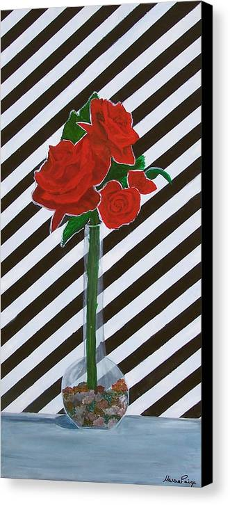 Flowers Canvas Print featuring the painting Four Roses by Marcia Paige