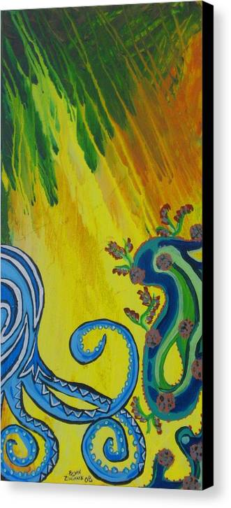 Octopus Painting Canvas Print featuring the painting Octopus by Bryan Zingmark