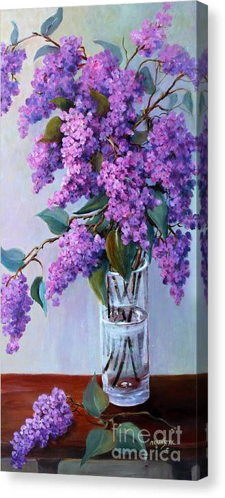 Flowers Canvas Print featuring the painting It Is Lilac Time by Marta Styk