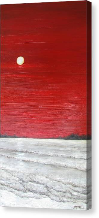 Oil Spill Canvas Print featuring the painting Bad Moon Rising by Judy Merrell