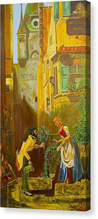 1700's European Village Canvas Print featuring the painting Good Morning Dear by V Boge
