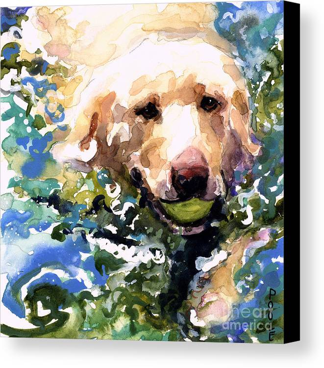Water Retrieve Canvas Print featuring the painting Head Above Water by Molly Poole