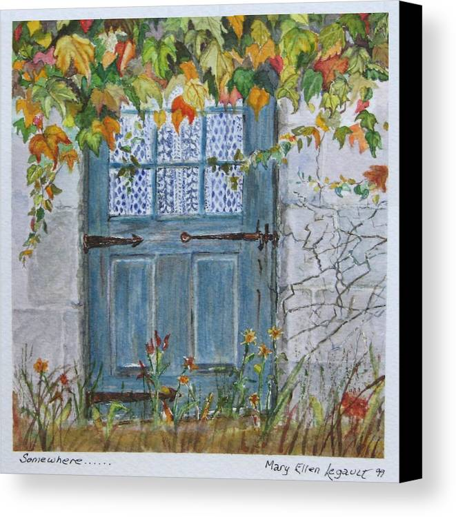 Autumn Leaves Canvas Print featuring the painting Somewhere by Mary Ellen Mueller Legault