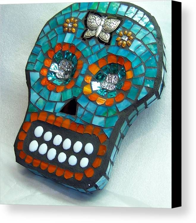 Dotd Canvas Print featuring the glass art Sugar Skull by Jenny Bowman
