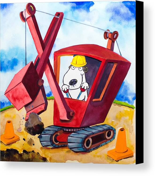 Dog Canvas Print featuring the painting Construction Dogs 2 by Scott Nelson