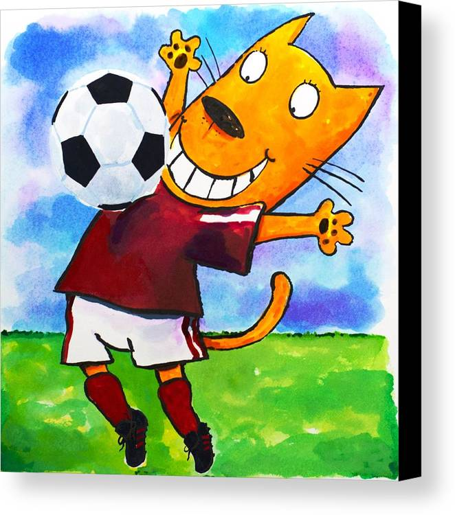 Cat Canvas Print featuring the painting Soccer Cat 3 by Scott Nelson