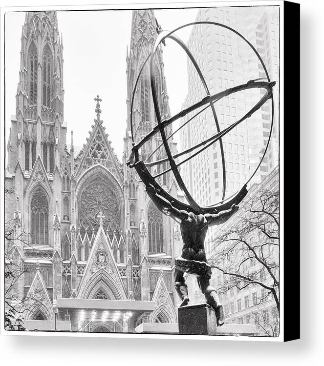 St. Patricks Canvas Print featuring the photograph Atlas And The Cathedral by Vicki Jauron