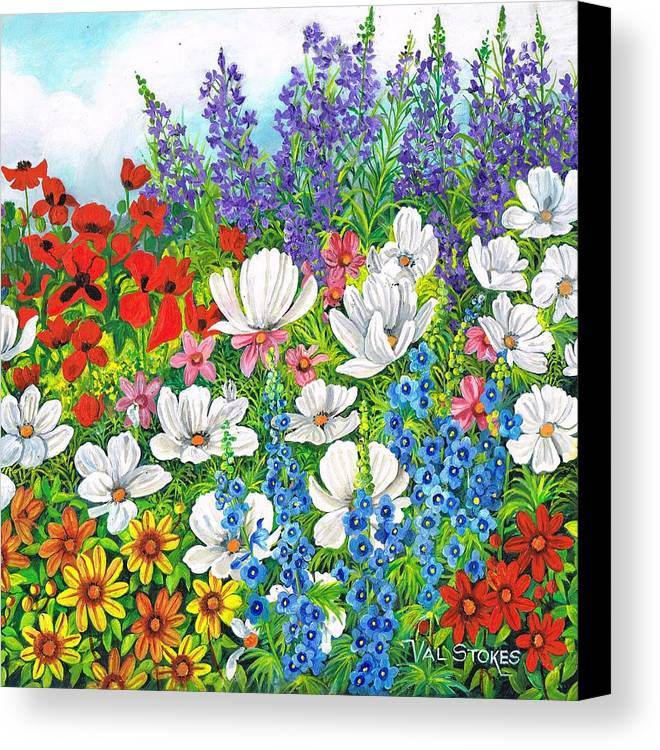 Flower Garden Canvas Print featuring the painting Floral Fusion by Val Stokes