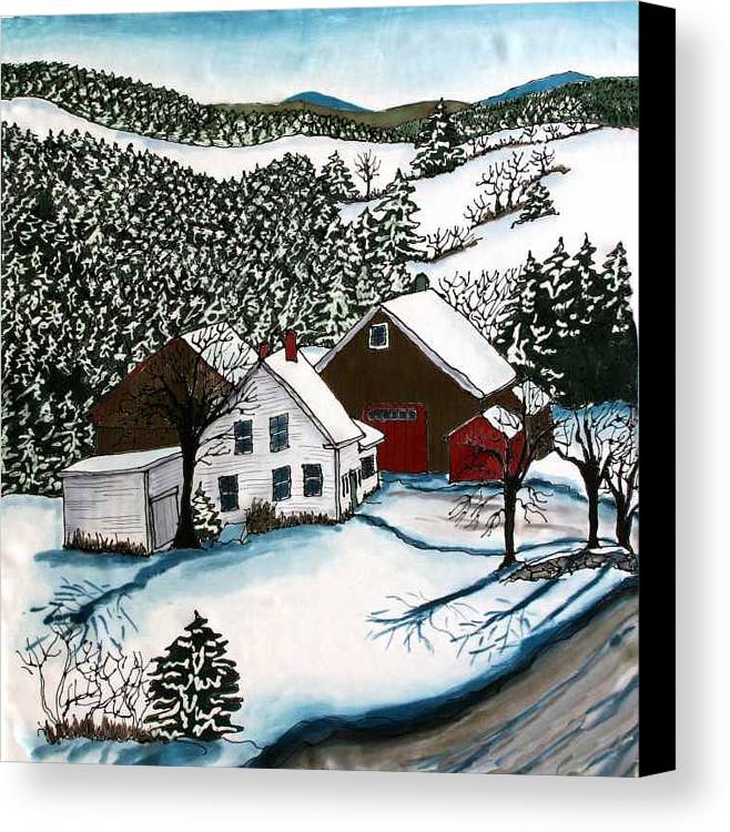 Farm Canvas Print featuring the tapestry - textile Old Hutchinson Place by Linda Marcille