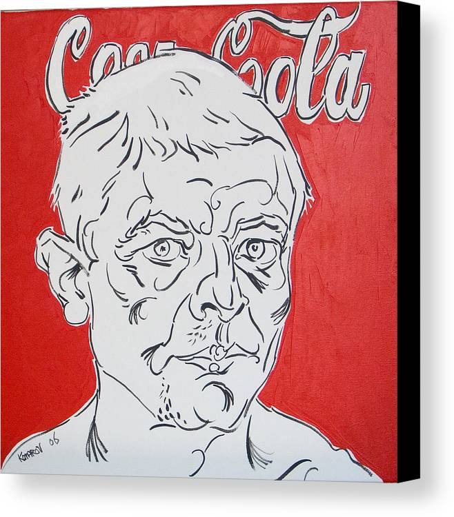 Coca Cola Canvas Print featuring the painting Portrait With Coca Cola by Vitali Komarov