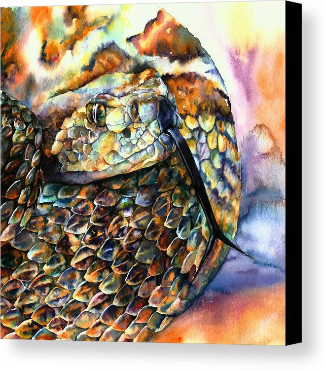 Southwest Canvas Print featuring the painting Rattle Snake by Christy Freeman