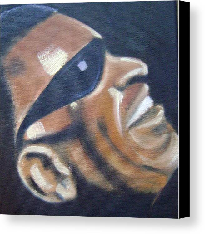 Ray Charles Canvas Print featuring the painting Ray Charles by Toni Berry