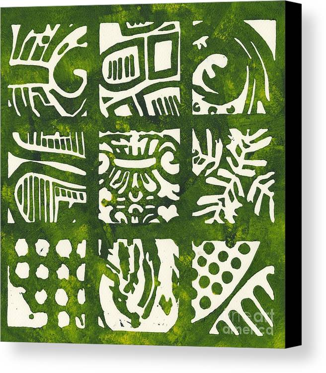 Linocut Canvas Print featuring the drawing Rubbing Patterns Linocut by Kayla Race