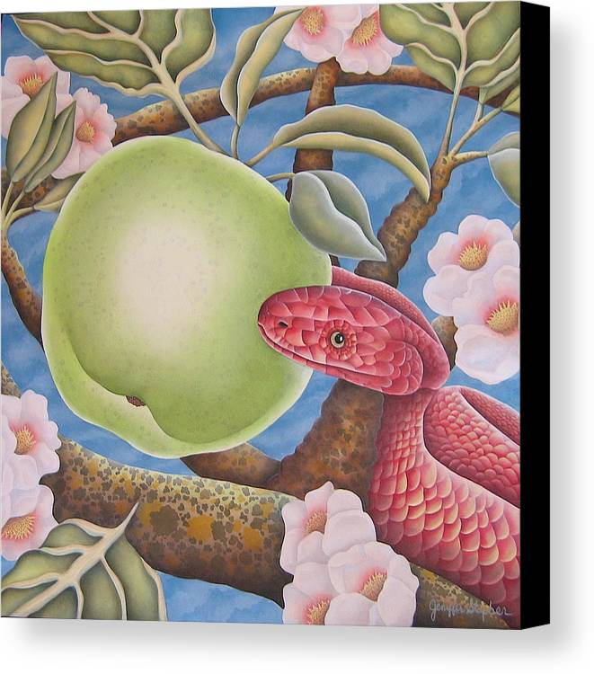 Religious Canvas Print featuring the painting The Devil And Granny Smith by Jeniffer Stapher-Thomas