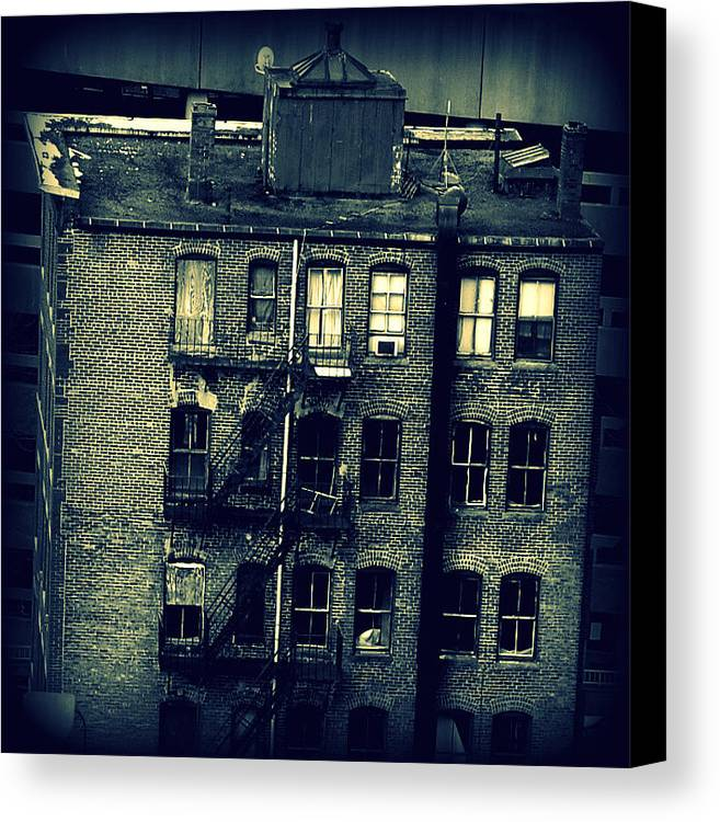 Black Canvas Print featuring the photograph Vacant In Boston by Lisa Jayne Konopka
