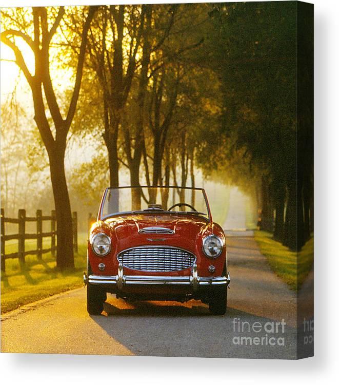 Vintage Bristish Sports Car Austin Healey Mark 3000 Canvas Print featuring the photograph Austin Healey by Allan Sprecher