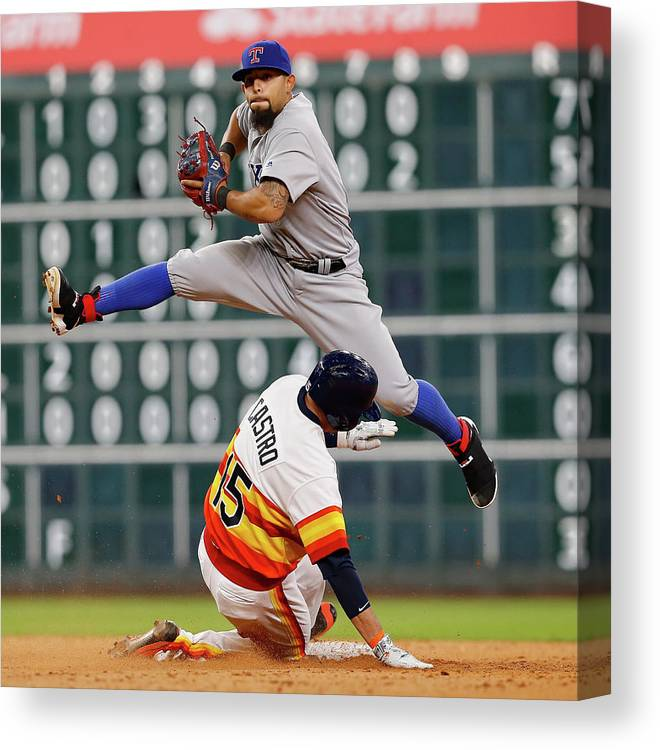 Ninth Inning Canvas Print featuring the photograph Texas Rangers V Houston Astros 1 by Bob Levey