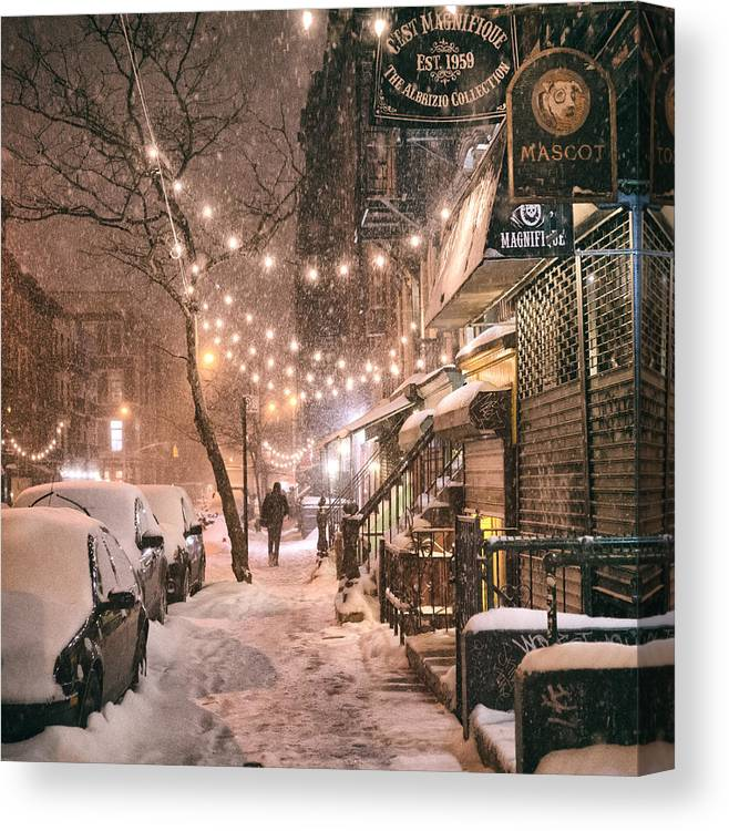 Nyc Canvas Print featuring the photograph New York City - Winter Snow Scene - East Village by Vivienne Gucwa