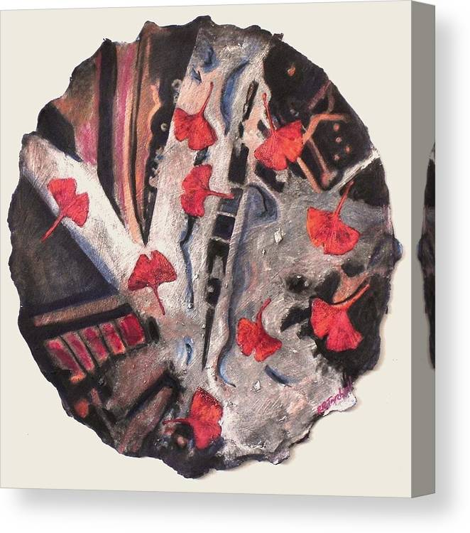 Gingko Canvas Print featuring the painting Floating Gingko by Pamela Tarbell