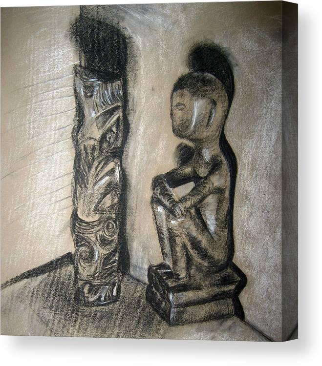 Figures Canvas Print featuring the drawing Indio by Jessica De la Torre