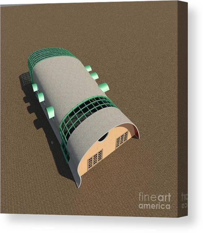 Building Canvas Print featuring the digital art Quonset Twenty Ten by Ron Bissett