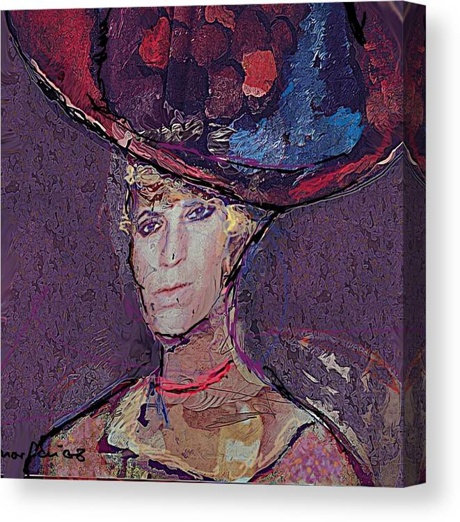 Hat Canvas Print featuring the painting Red Hat by Noredin Morgan