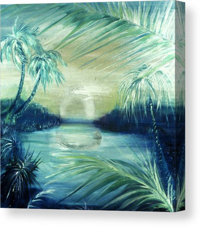Silver Pond  Canvas Print featuring the painting Silver Pond by Ione Citrin