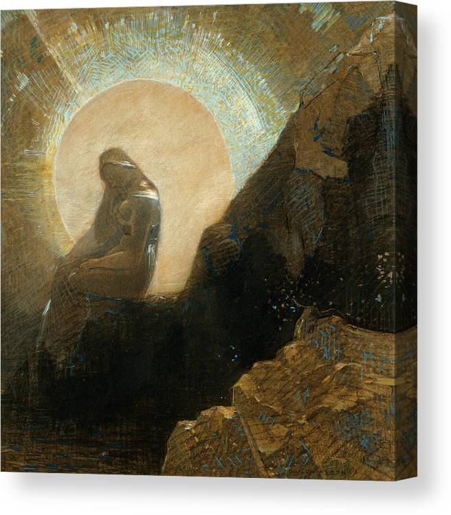 19th Century Art Canvas Print featuring the drawing Melancholy by Odilon Redon