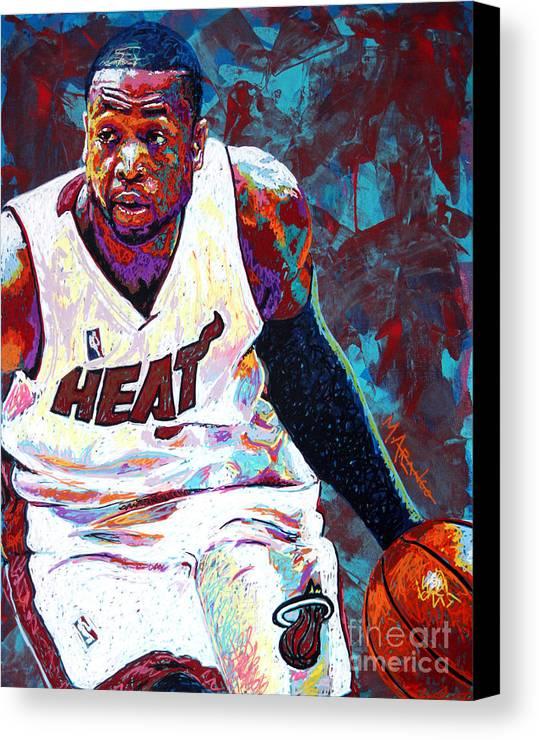 Dwyane Wade Canvas Print featuring the painting D. Wade by Maria Arango