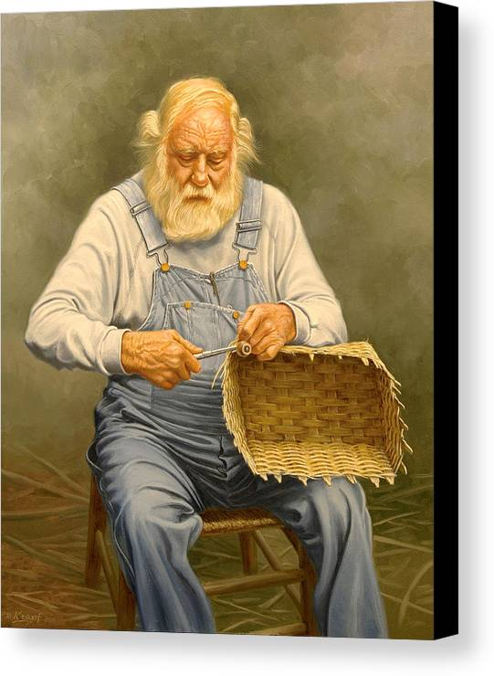 Bearded Man Canvas Print featuring the painting Basketmaker In Oil by Paul Krapf